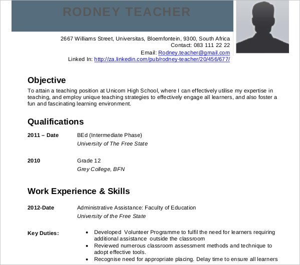 teaching curriculum vitae example
