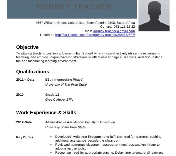 Curriculum Vitae Teacher