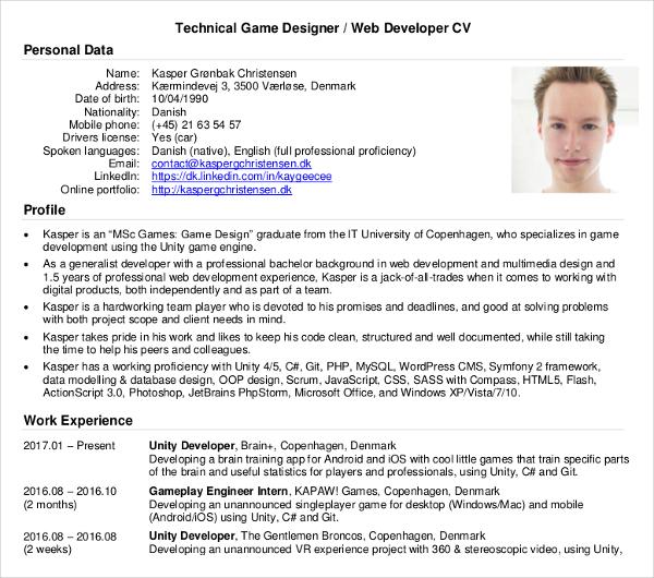 technical game web developer cv