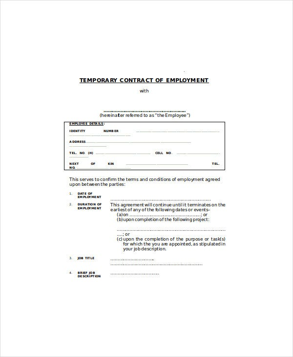 5 temporary employment agreement templates pdf doc for Permanent contract of employment template