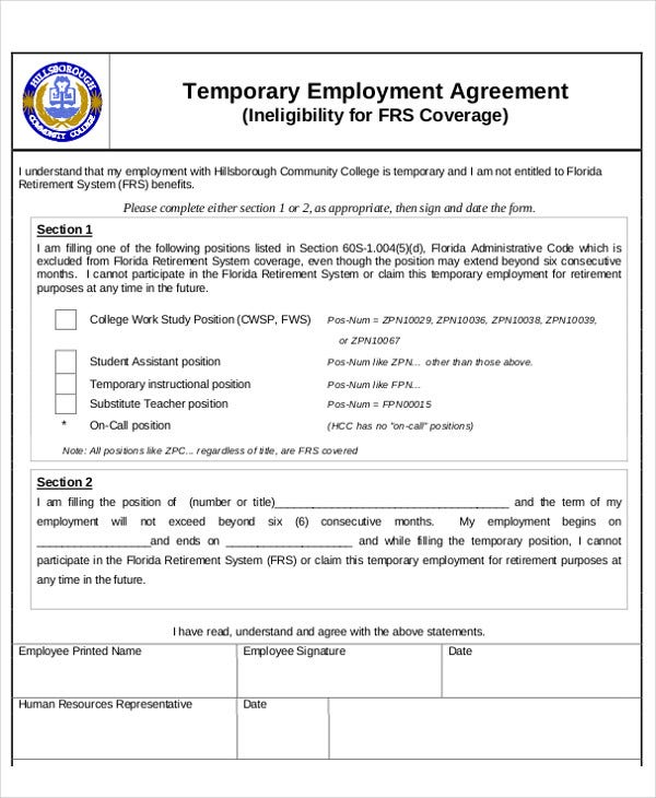 Temporary Employment Agreement Template