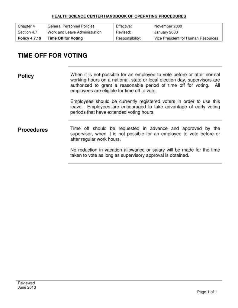 Time Off For Voting Procedure