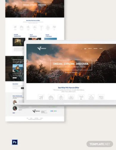 tours travels psd landing page template
