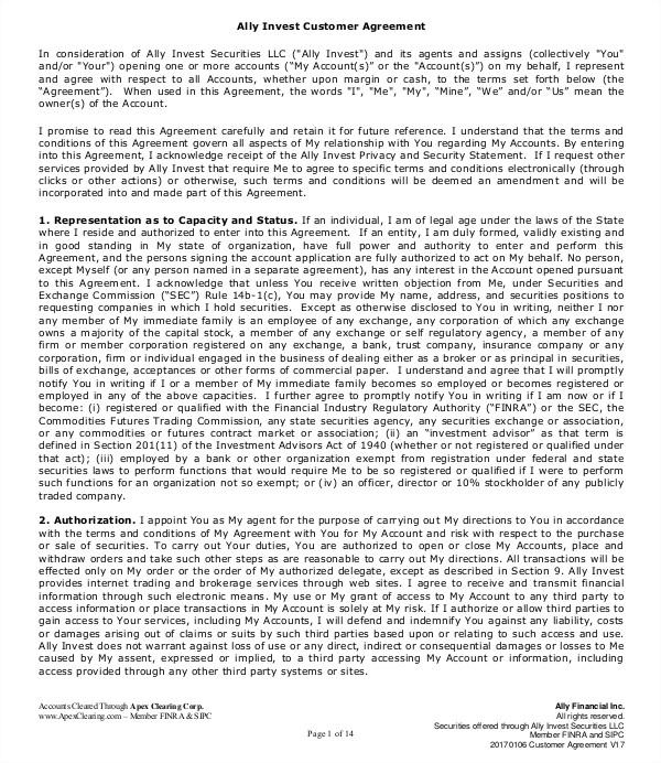 tradeking investment agreement