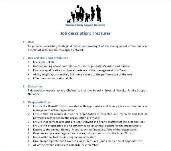 treasurer job description template