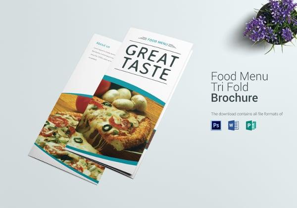 trifold food menu template