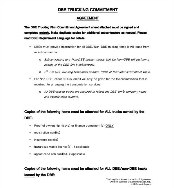 8 Truck Lease Agreement Templates Pdf Doc Free