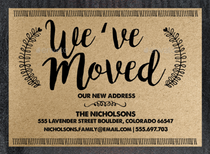 typography moving announcement card