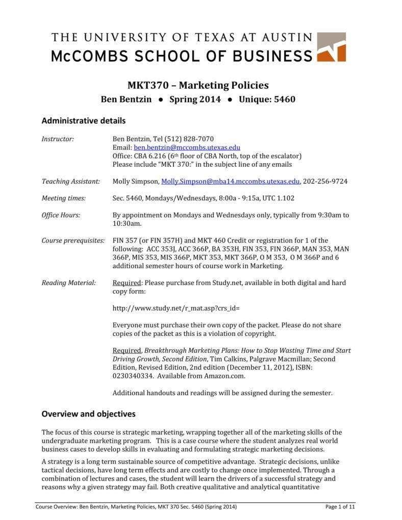 University of Texas Marketing Policies