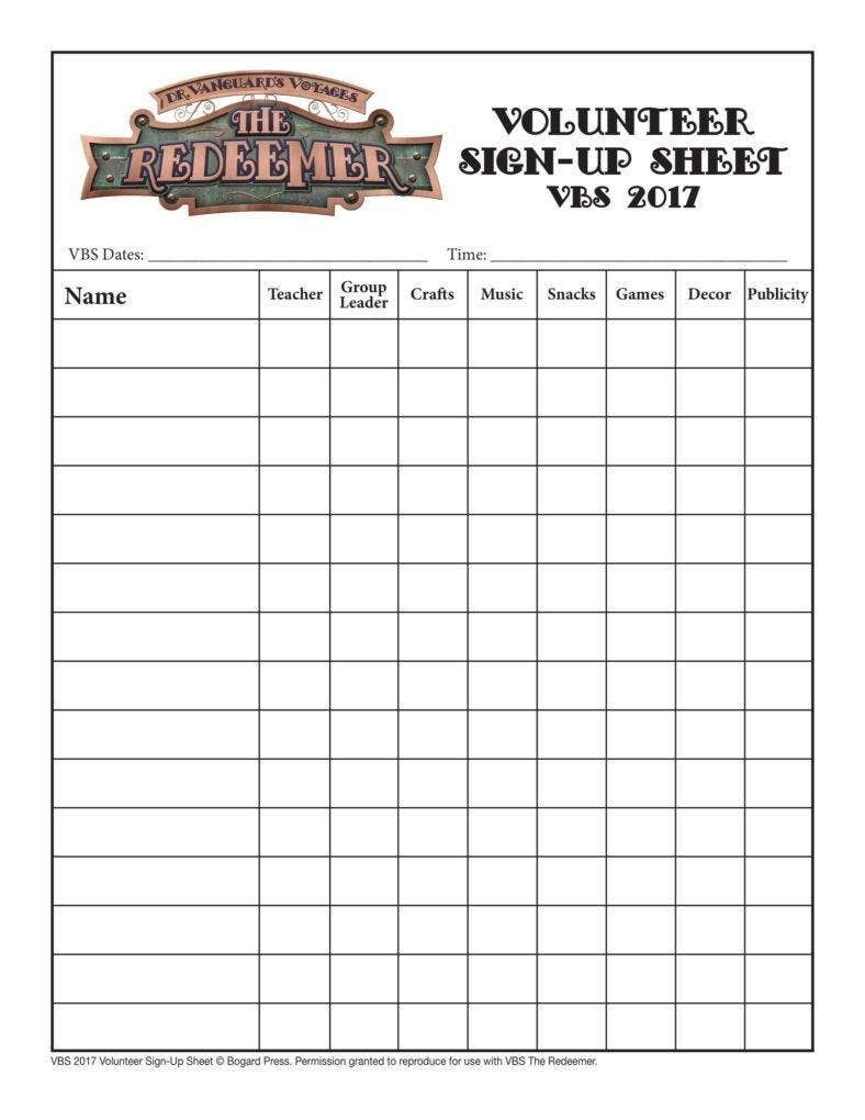 10 volunteer sign up sheet templates pdf free. Black Bedroom Furniture Sets. Home Design Ideas