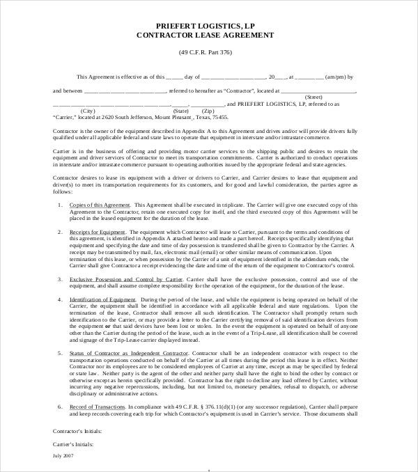 Trade In Lease Early >> 8+ Truck Lease Agreement Templates - PDF, DOC | Free ...