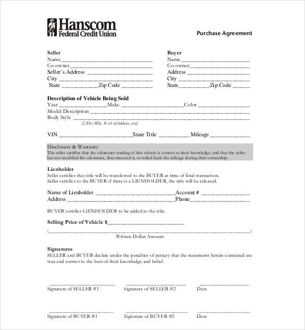 6+ Vehicle Purchase Agreement Templates - PDF, DOC