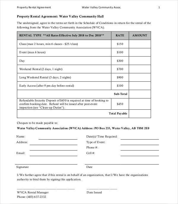 water property rental agreement template