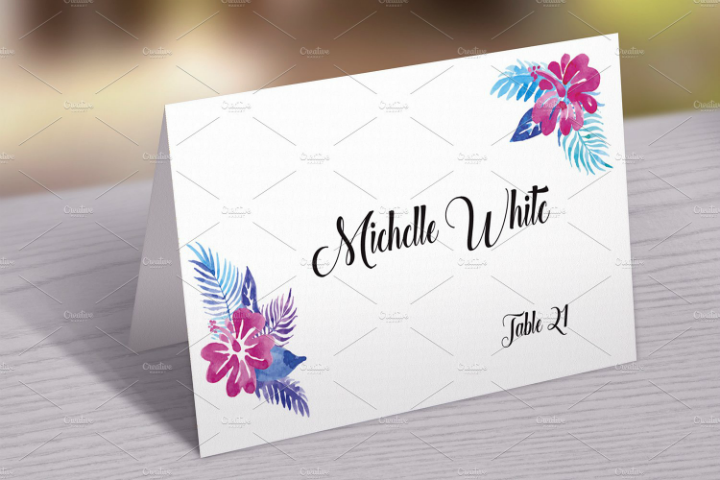 watercolor name place card template