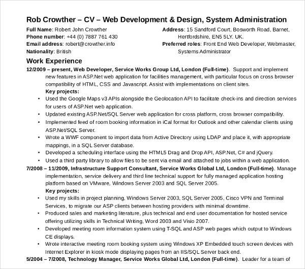 web developeradministrator cv