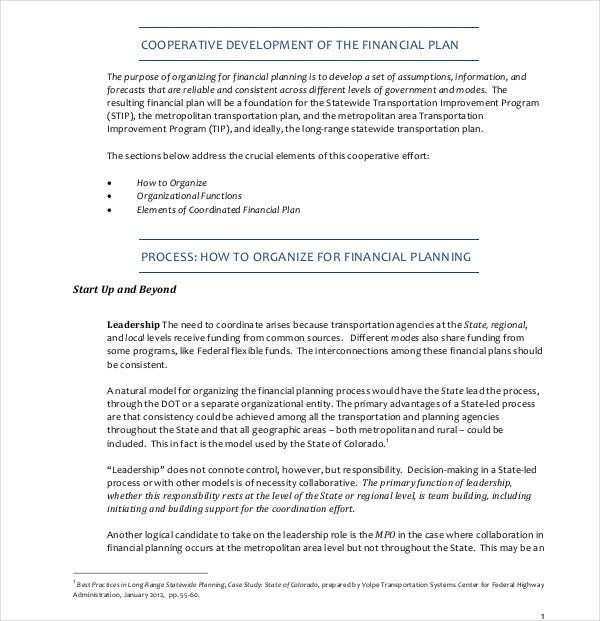 work cooperative development financial plan