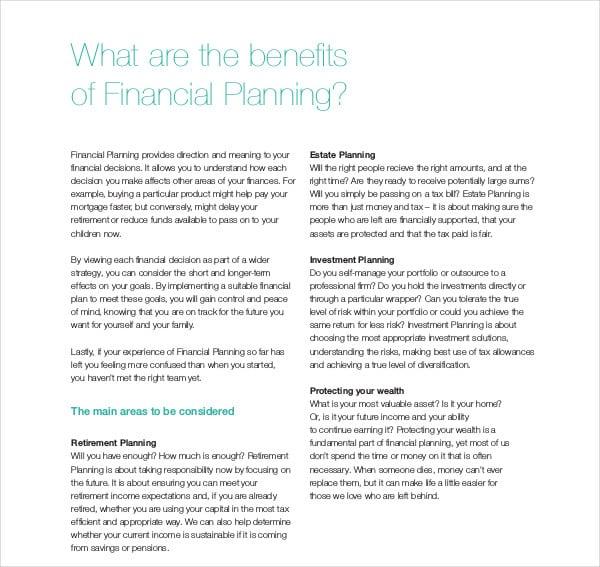 work financial plan template