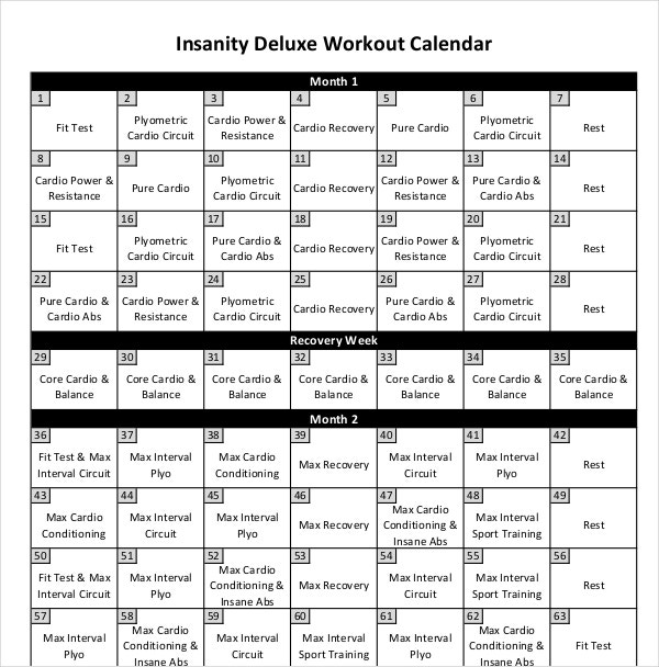 Workout Insanity Calendar Template