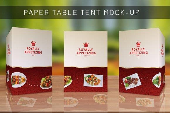 appetizer table tent card