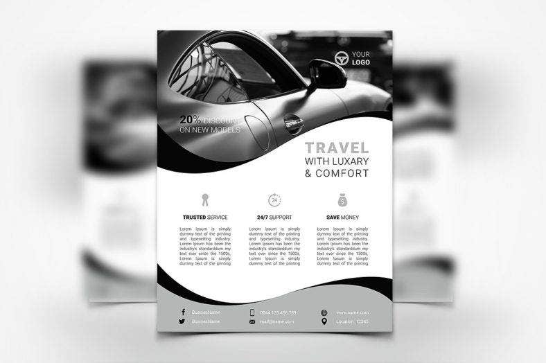 black-and-white-car-rental-flyer
