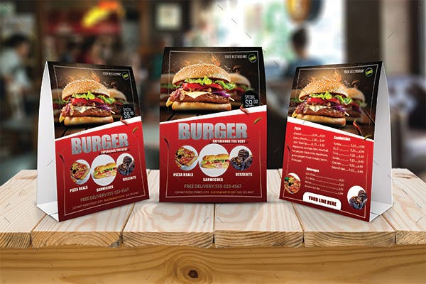 burger table tent card