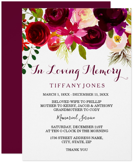 burgundy floral death announcement card