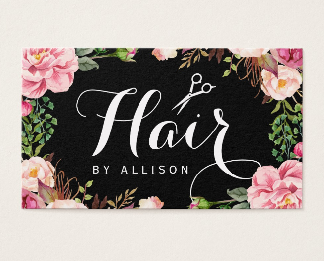 chic floral hair stylist business card