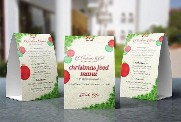 christmas table tent card