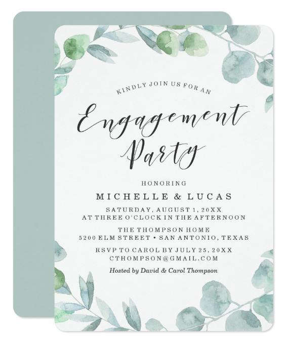 delicate wreath engagement invitation card