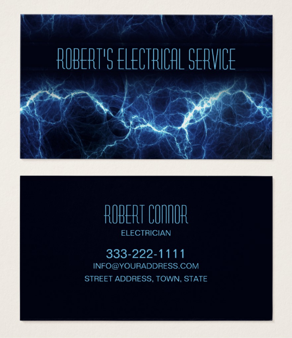 electric-lightning-electrician-business-card