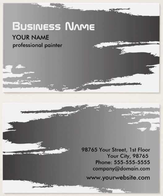 elegant-faux-silver-painter-business-card