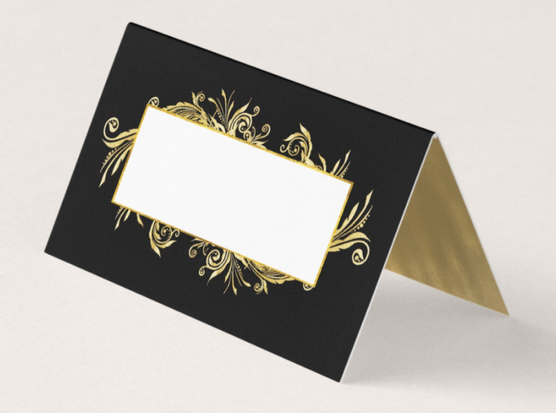 fancy black and gold table place card 788x586