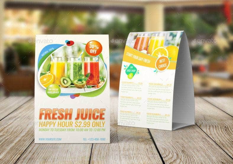fresh juice table tent card 788x556