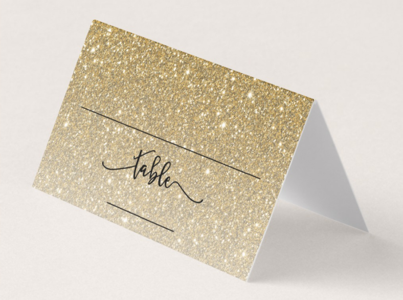 gold glitter table place card 788x586