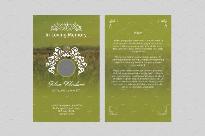 green-funeral-memorial-card