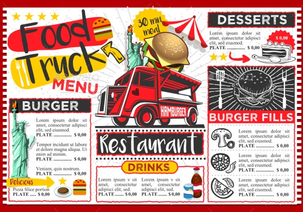 Fast food truck festival American Us hamburger menu brochure street food template design. Vintage party invite with hand drawn graphic. Vector food menu template for hipster flyer or board.