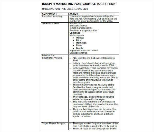 indepth marketing plan example