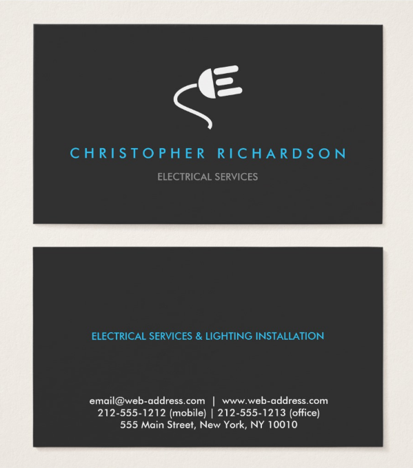 minimalistic electrician business card template - Electrician Business Cards