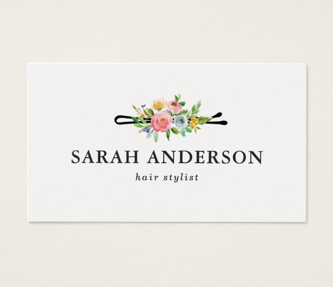 minimalistic hair stylist business card