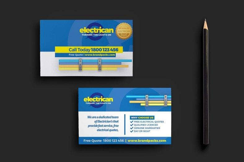 modern electrician business card template - Electrician Business Cards