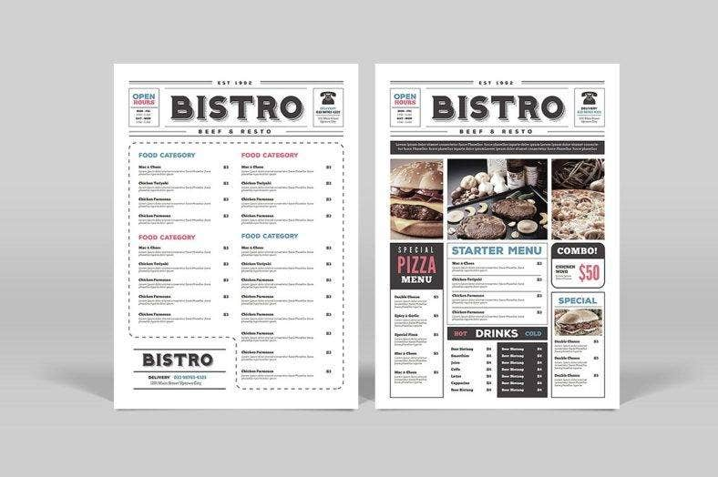 newspaper-style-food-and-drink-menu