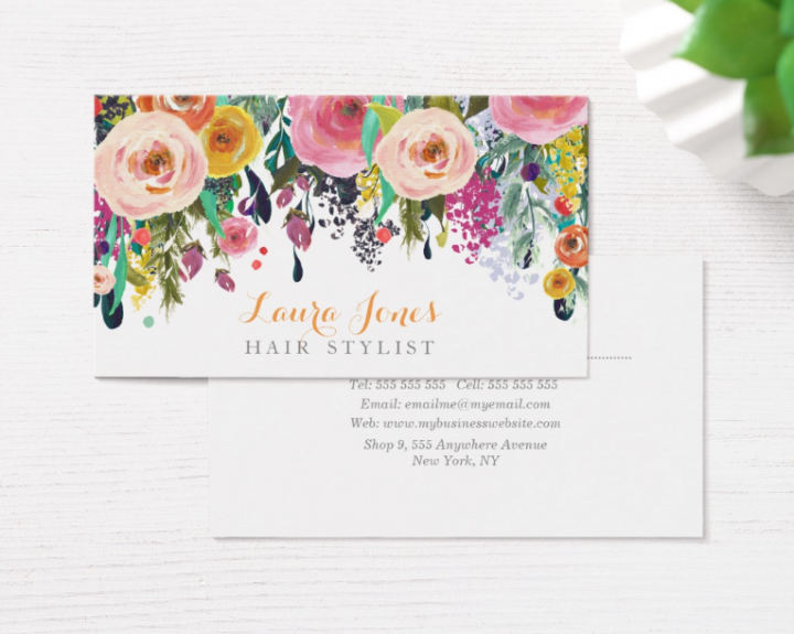 painted floral hair stylist business card e1518669261318