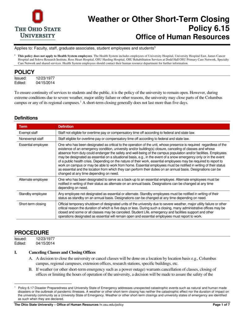 11+ Inclement Weather Policy Templates - PDF | Free & Premium Templates