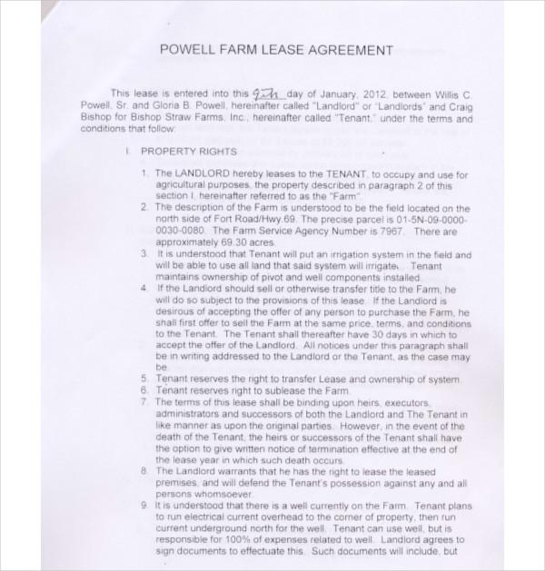powell farm lease agreement