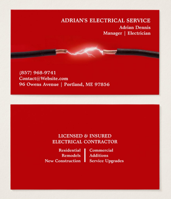 red electrician business card template - Electrician Business Cards