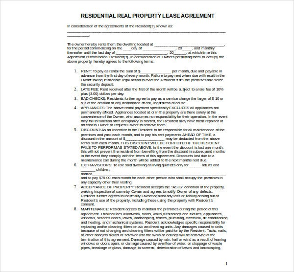 residential real property lease agreement