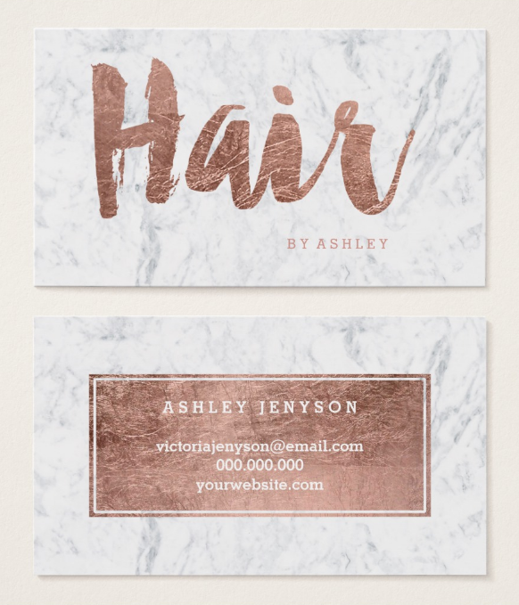 rose gold hair stylist business card