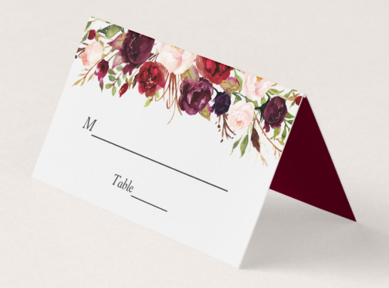 rustic burgundy table place card 788x584