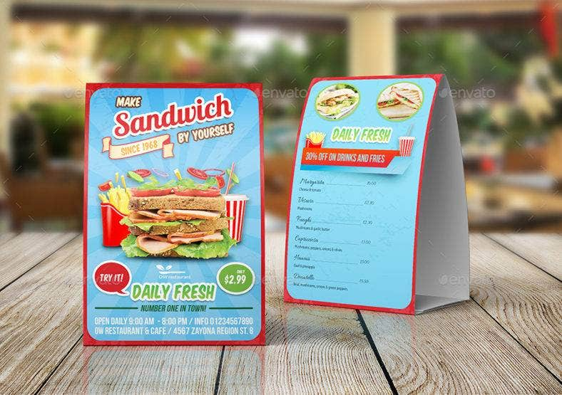 Sandwich Table Tent Template & 18+ Tent Card Designs u0026 Templates - AI PSD InDesign | Free ...