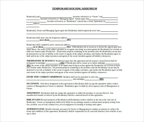 seasonal short term rental agreement
